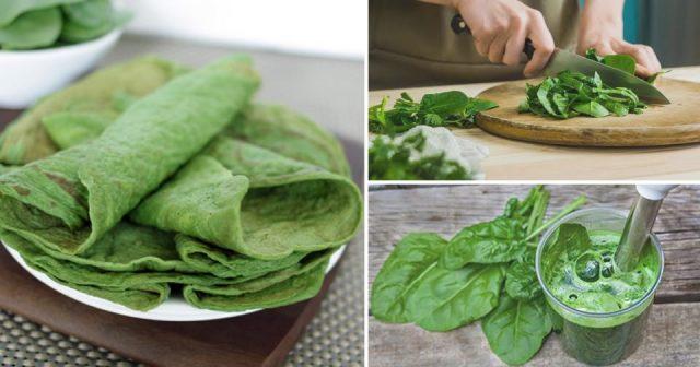 Recette : Crêpes aux épinards : très savoureuses, simples et peu caloriques